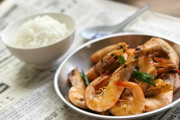 Chinese Stir Fried Prawns with Ginger and Spring Onions