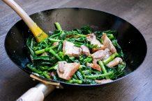 Stir Fried Chinese Broccoli with Crispy Roast Pork
