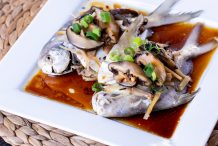 Steamed White Pomfret Fish with Mushrooms