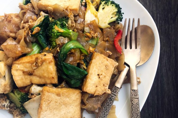 Thai Vegetarian Stir Fried Rice Noodles (Pad See Ew)