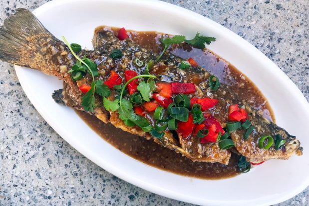 Thai Style Deep Fried Whole Fish with Garlic and Pepper Sauce
