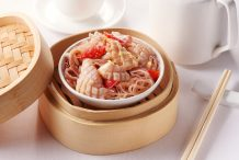 Steamed Squid and Bean Vermicelli with Shrimp Sauce