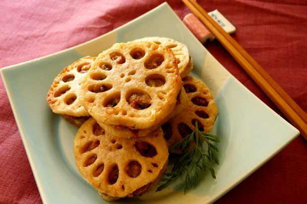 Deep Fried Lotus Roots with Meat Patties