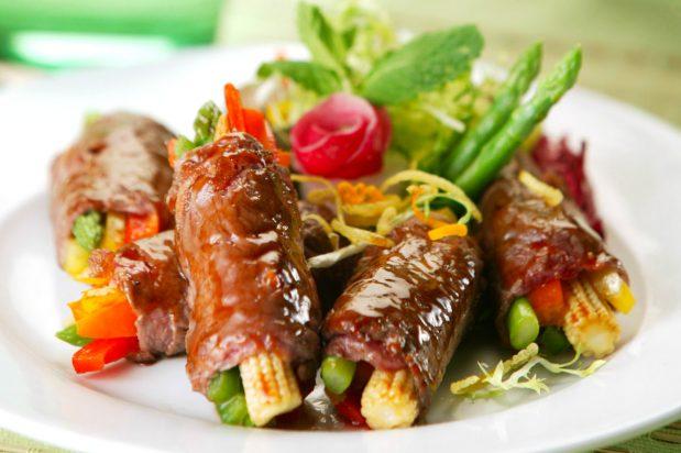 Fried Beef Rolls in Hoisin Sauce