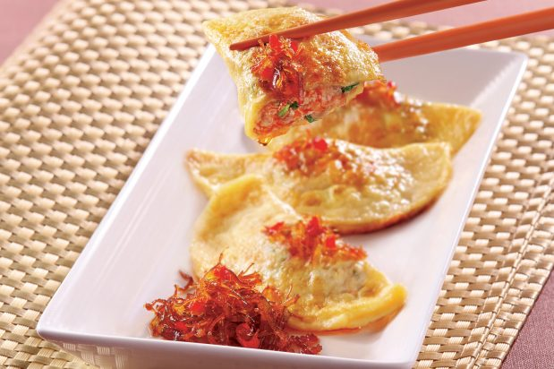 Pan Fried Egg Dumplings with XO Sauce
