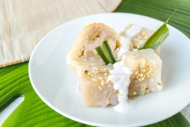 Grilled Banana Wrapped in Sticky Rice (Chuoi Boc Nep Nuong)