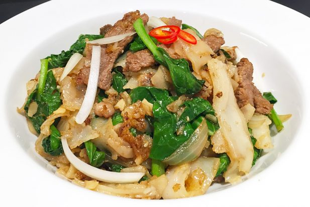 Rice Noodles with Beef and Chinese Broccoli