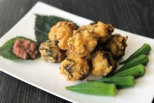 Japanese Prawn Fritters with Shiso and Salted Plum (Prawn Shinjo-Age)