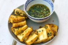 Pan Fried Tofu with Egg and Chives
