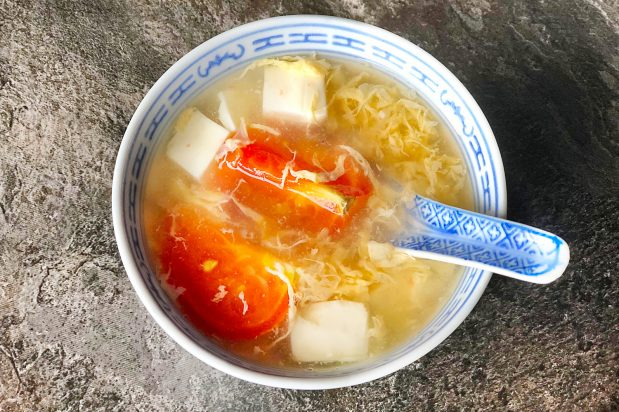 Tomato Tofu Egg Drop Soup