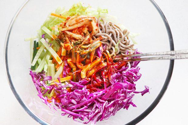 Korean Spicy, Sweet and Vinegary Noodles (Bibim Guksu)