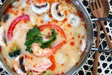 Creamy Tom Yum Soup with Prawns