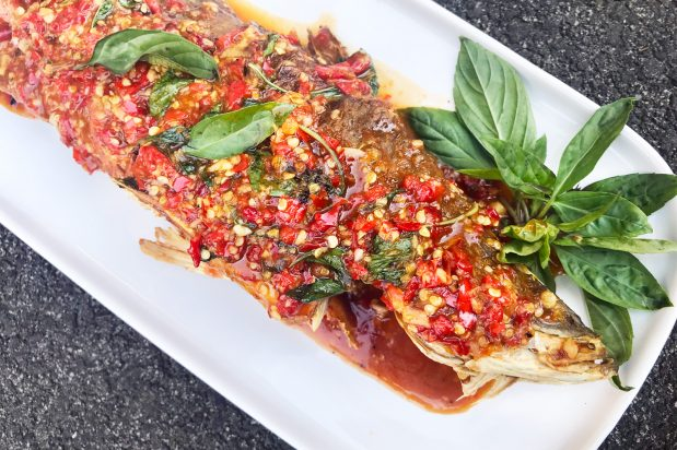 Deep-Fried Whole Fish with Thai Basil Chilli Sauce