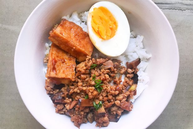 Braised Meat Sauce with Tofu and Egg on Rice