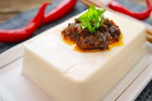 Steamed Silken Tofu with Spicy Shallot Sauce