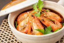 Thai Steamed Glass Noodles with Prawns (Kung Aob Woonsen)