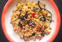 Chinese Stir Fried Eggplant with Minced Meat and Preserved Radish