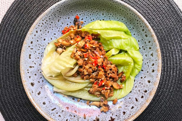 Leafy Greens with Minced Meat, Preserved Radish and Mushroom
