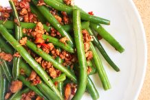 Stir Fried Green Beans with Minced Meat, Preserved Radish and Dried Shrimps