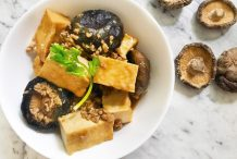 Stir Fried Minced Meat with Shiitake Mushrooms and Tofu