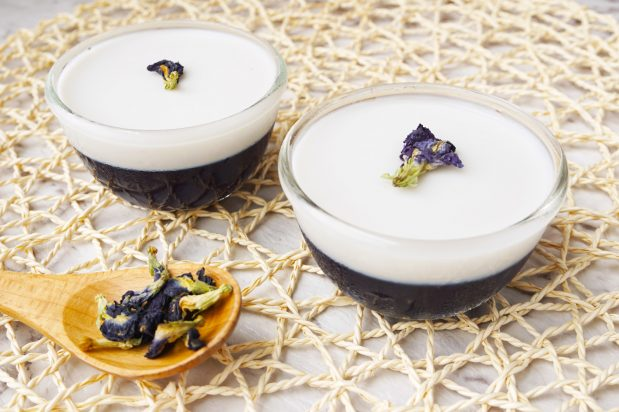 Thai Style Butterfly Pea and Coconut Jelly