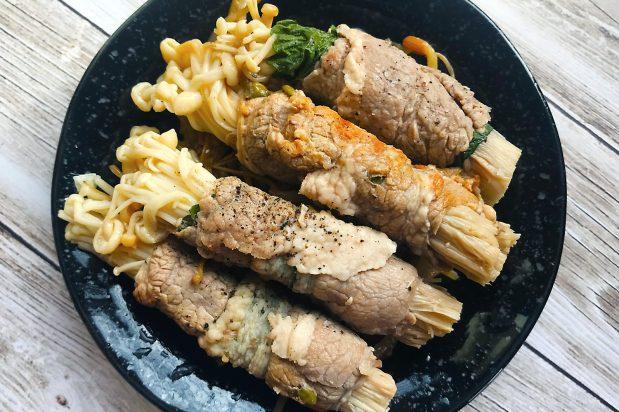 Korean Enoki Mushrooms Beef Rolls
