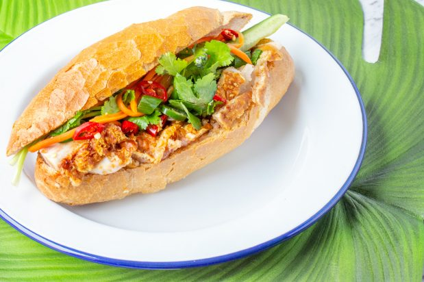 Vietnamese Bread Roll (Banh Mi) with Crispy Roast Pork