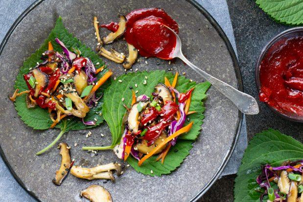 Vegan Mushroom Bulgogi Wraps