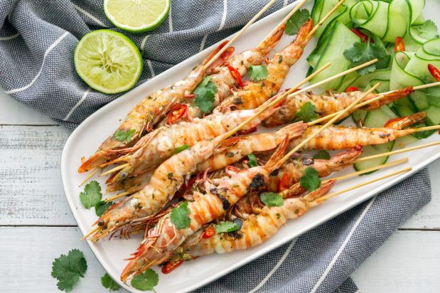 Chilli Lime Barbecue Prawn Skewers
