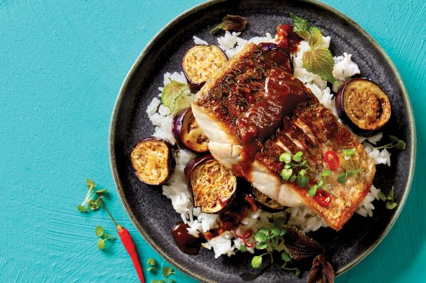 Balinese Fish with Tamarind Eggplant Sauce