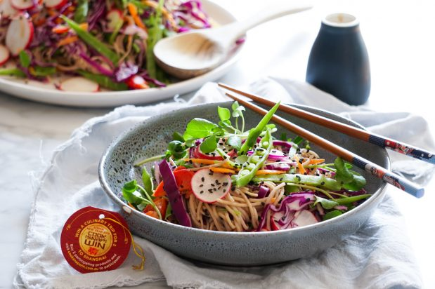 Soba Noodle Salad with Quick Peanut Sesame Dressing