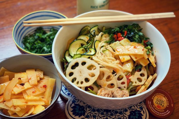 Mixed Veggie Noodle Bowl with Chilli Oil Bamboo Slices