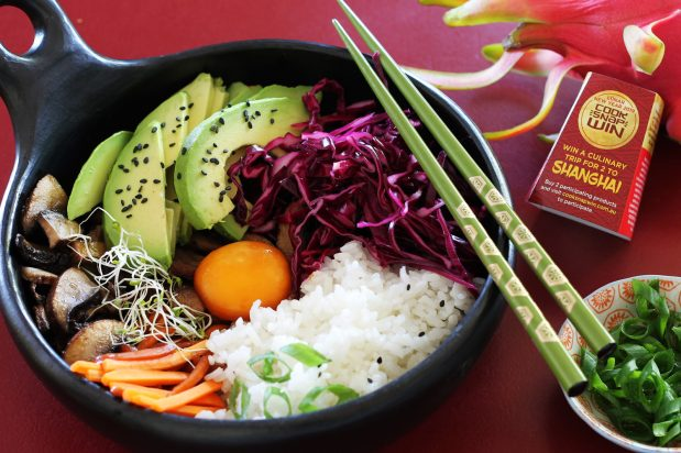 Vegetable Donburi with Soy-Cured Egg & Pickled Red Cabbage
