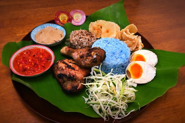 Spiced BBQ Chicken with Herb Rice Salad (Ayam Percik & Nasi Kerabu)