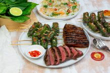 Vietnamese BBQ Lemongrass Beef & Betel Leaf Rolls with Vermicelli Salad