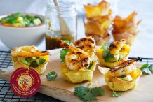 BBQ Sweet Chilli Prawn Wonton Cups with Mango Salsa