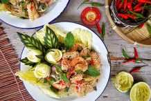 Spicy Glass Noodle Salad with Squid & Prawns (Yum Woon Sen Talay)