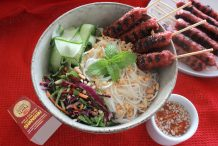 Bun Nem Nuong with Nuoc Cham (Vietnamese Grilled Pork Sausage Vermicelli Salad)