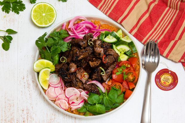 Vietnamese Shaking Beef with Pickled Onion & Tomato Fried Rice (Bo Luc Lac)