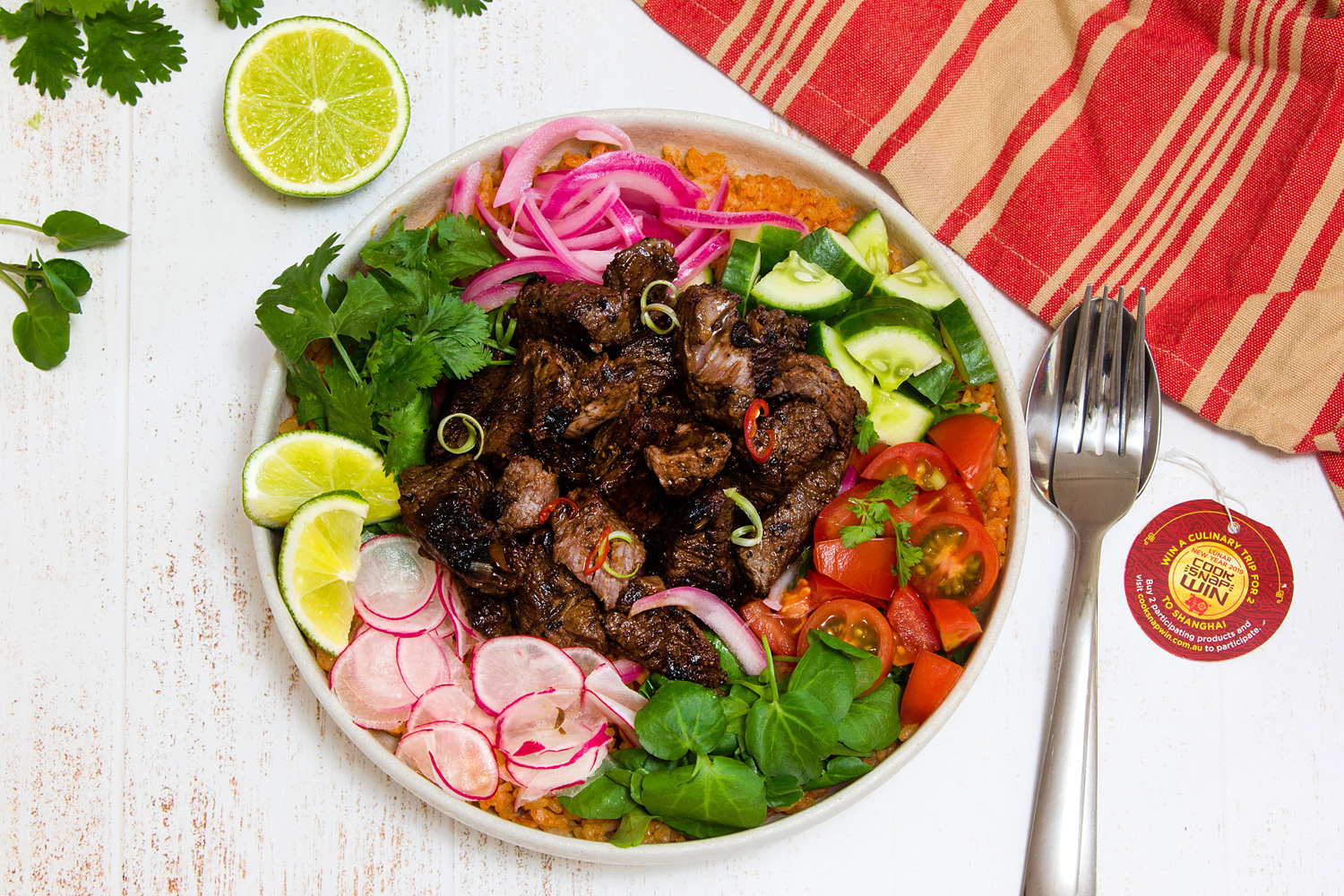 Vietnamese Shaking Beef With Pickled Onion Tomato Fried Rice Bo Luc Lac Asian Inspirations