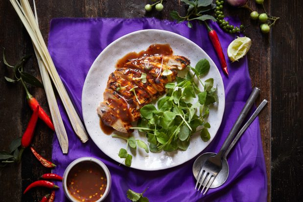 Red Curry Grilled Chicken with Tamarind Sauce (Gai Yang Ka Ti Kab Jeaw Makham)