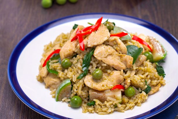 Green Curry Fried Rice with Chicken (Kao Pad Gaeng Keo Wan Gai)