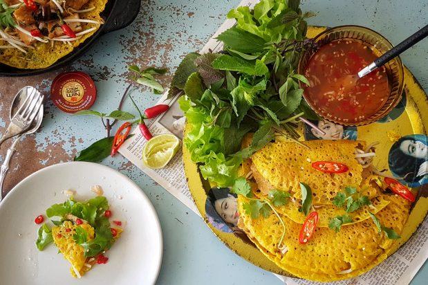 Crispy Vietnamese Vegan Crepes with Tempeh and Fried Tofu (Bánh Xèo)