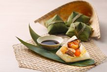 Rice Dumplings with Golden Oysters and Dried Scallops