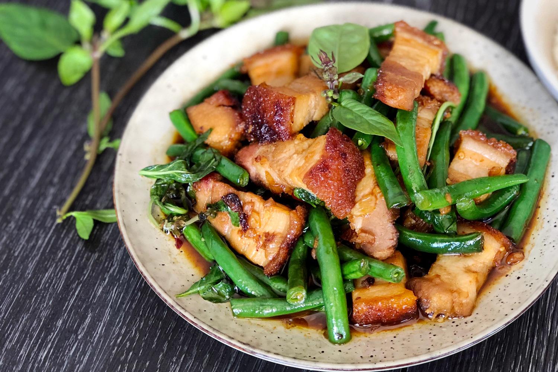 Crispy Pork with Thai Basil (Kra Pao Moo Grob)