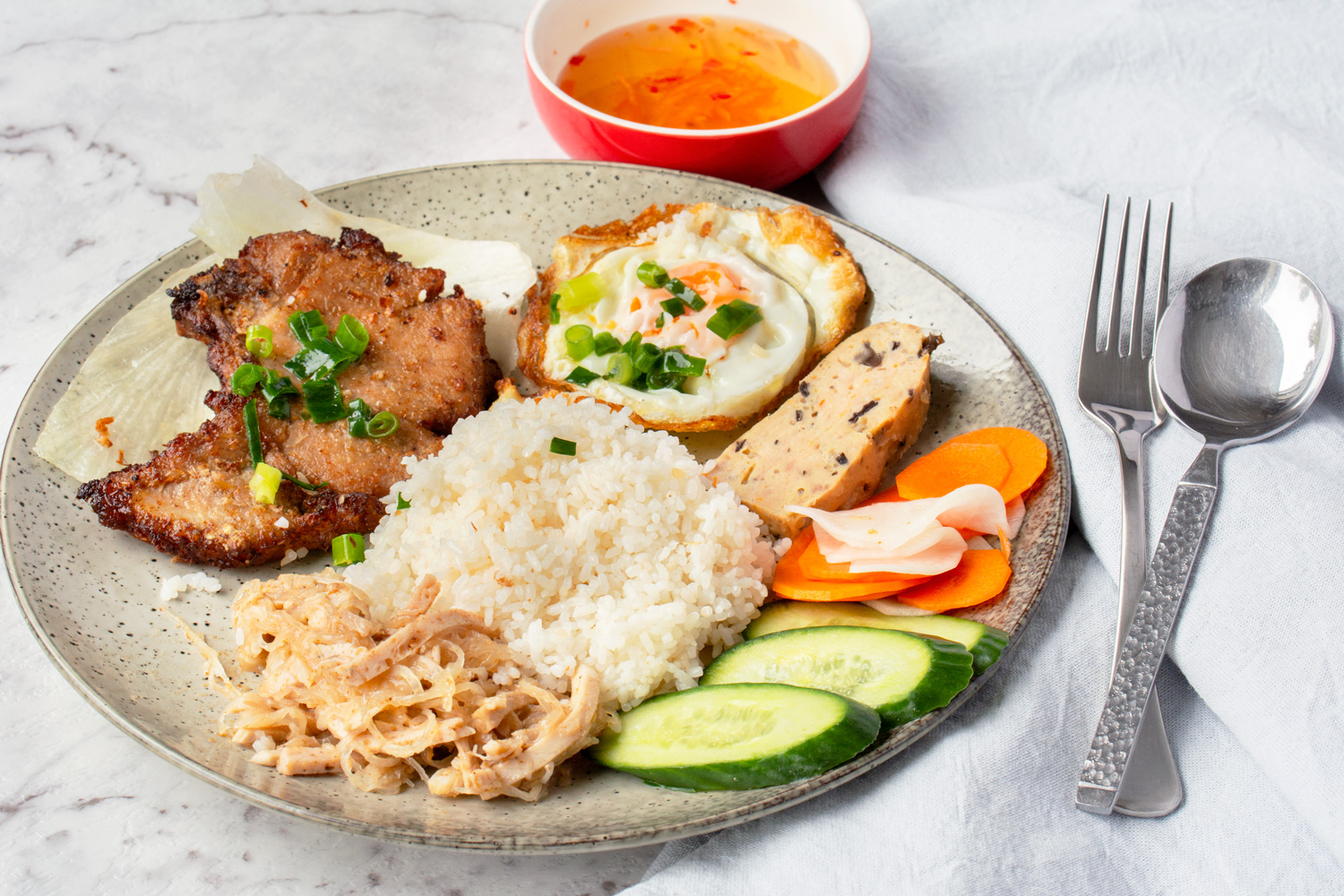 Vietnamese Broken Rice with Grilled Pork (Com Tam) | Asian ...