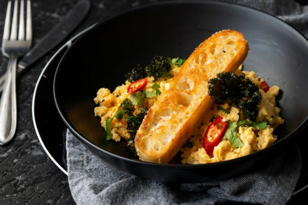 Miso Scrambled Eggs with Crispy Kale