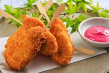 Crumbed Chicken Tenderloin Skewer with Beetroot Mayonnaise