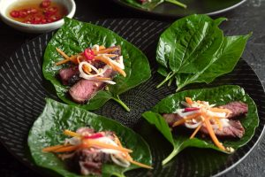 Vietnamese Lemongrass Beef on Betel Leaf