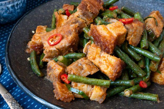 Thai Spicy Stir-Fried Crispy Pork Belly with Beans